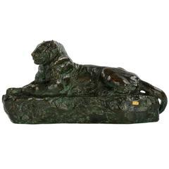 "Bronze Sculpture of ""Panthéred de l'India No. 1"" Antoine-Louis Barye, Gold FB"