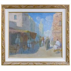 Iconic Arab Market Scene Oil Painting