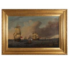 18th Century Old Masters Oil on Canvas Marine Attributed to Richard Wright