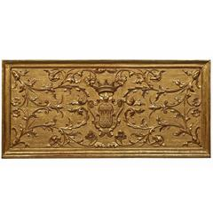 Italian 18th Century Extremely Decorative Giltwood Family Crest Panel