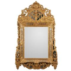 Fine 17th Century Louis XIV Carved and Giltwood Mirror 'Mirroir a Parcloses'