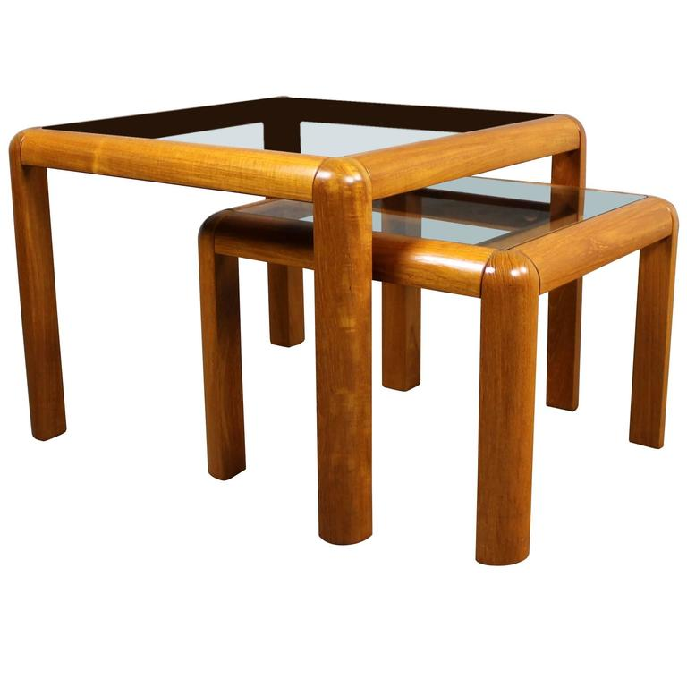 Vintage Danish Mid Century Modern Teak And Glass Square Nesting Side Tables  1