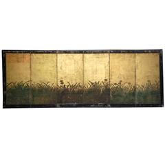 Antique Edo Period Japanese Gold Leaf  Painted Narcissus Six Panel Screen