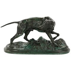 French Antique Bronze Sculpture of Pointer Dog After Model by Pierre Jules Mene
