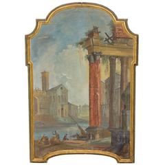 19th Century Italian Oil Painting of Ruins