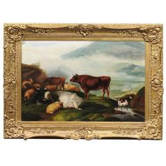 Large English 1880s Giltwood Framed Pastoral Oil Painting with Cattle and Sheep