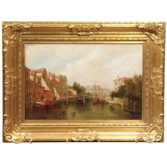 Oil Painting of a Canal Scene with Boats and Pedestrians from Late 19th Century