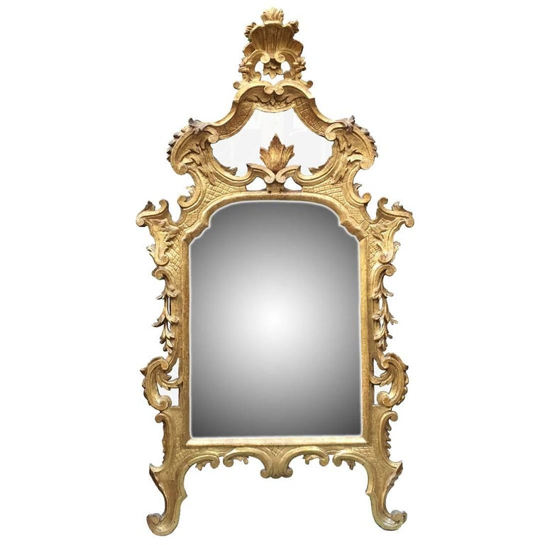 Italian 18th Century Louis XV Mirror Carved Gilt Wood Tuscan Mirror from Lucca For Sale