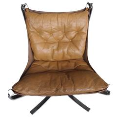Sigurd Ressel Falcon Lounge Chair Tan Leather, Canvas and Steel Frame