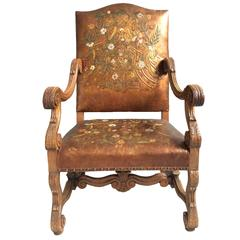 Amazing 18th Century Norwegian Embossed and Painted Leather Throne Chair