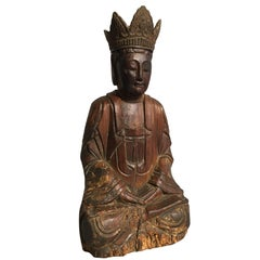 Chinese Ming Dynasty Carved Wooden Bodhisattva