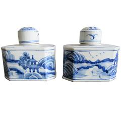 Small Pair of Chinese Blue and White Porcelain Tea Canisters