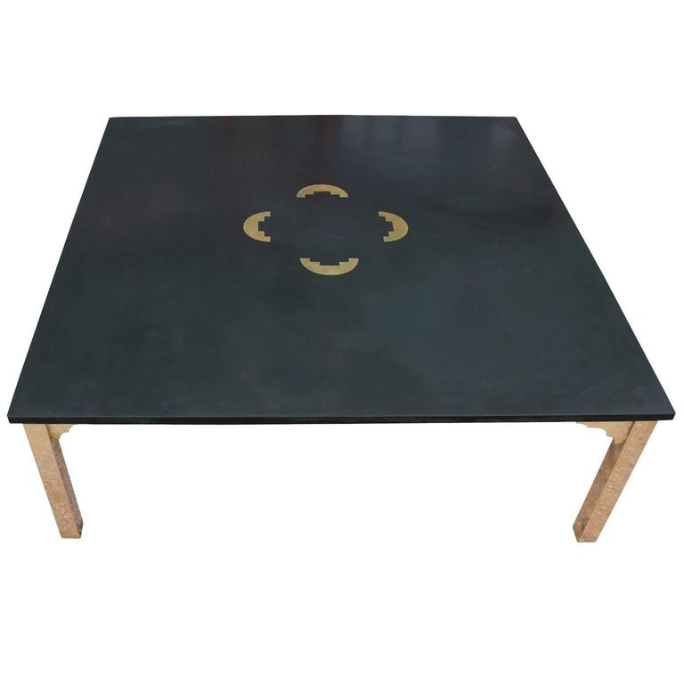Fabulous Italian Brass And Slate Square Modern Coffee Table With Copper  Inlay For Sale