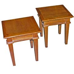 oak end tables by andre arbus french 1940s