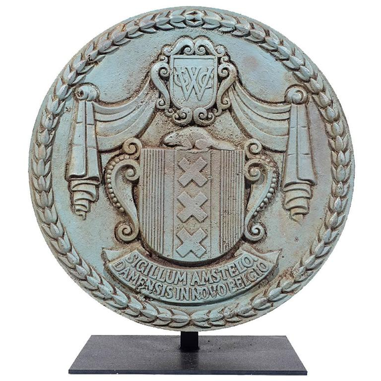 Wpa Era Cast Iron Ornamental Plaque From Nyc West Side
