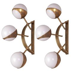 Pair of Triple Orb Brass and Opal Glass Wall Lights in the Style of Stilnovo