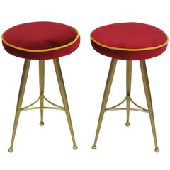 Pair of Italian Modern Brass Stools