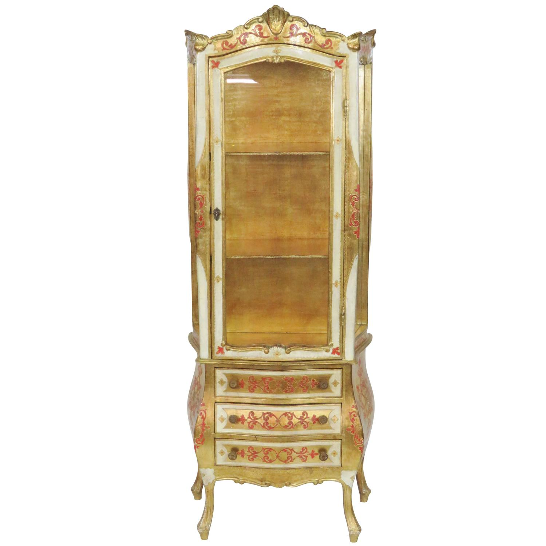vintage florentine paint decorated vitrine for sale at 1stdibs. Black Bedroom Furniture Sets. Home Design Ideas