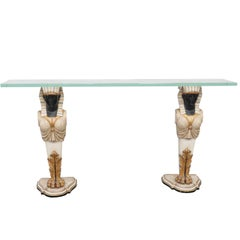 Egyptian Figural Painted and Gilt Glass Top Console Table