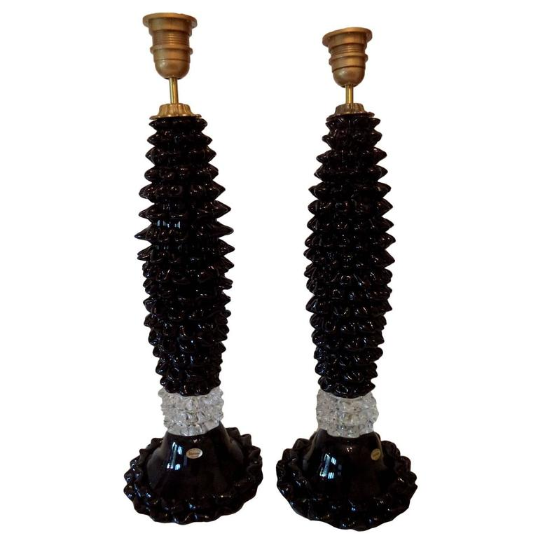 Pair of Vintage Black and Clear Murano Glass Lamps