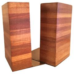 Rare Pair of Don Shoemaker Wooden Bookends