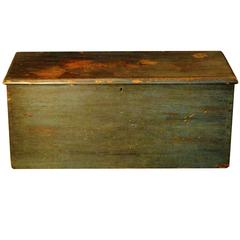 Antique Flat Top Trunk in Original Blue Paint, circa 1880