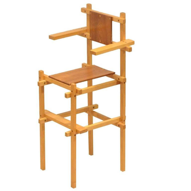 Dutch, Mid Century Modern Design, Gerrit Rietveld Style High Chair, 1960s  For