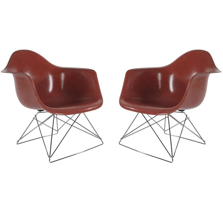 Pair of Mid-Century Eames Herman Miller Fiberglass Lounge Chairs in ...