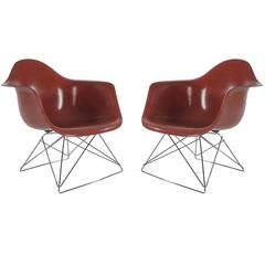Pair of Mid-Century Eames Herman Miller Fiberglass Lounge Chairs in Terracotta