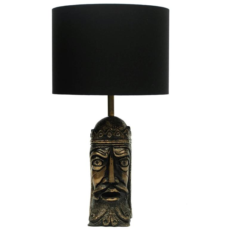 1960s Kings Head Sculptural Cold Cast Bronze Table Lamp Art