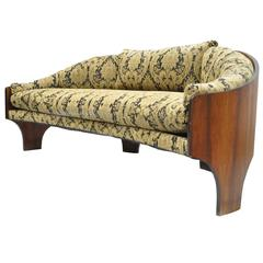 Henry P Glass Sculptural Intimate Island Suite Walnut Curved Sofa