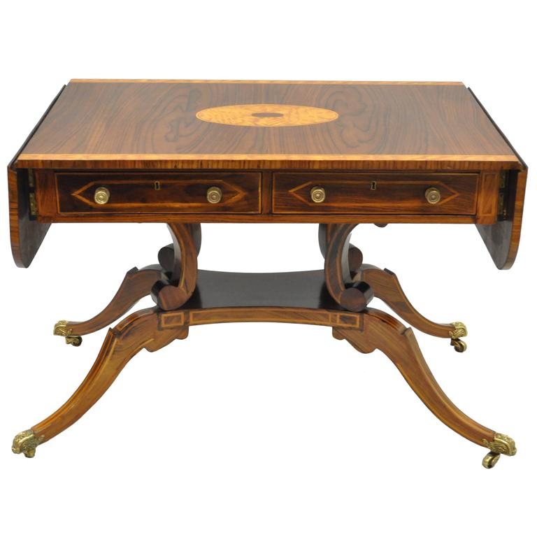 Banded and Inlaid Regency Style Sofa Table Attributed to Maitland Smith