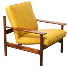 Sven Ivar Dysthe Rosewood and Leather Lounge Chair for Dokka Mobler