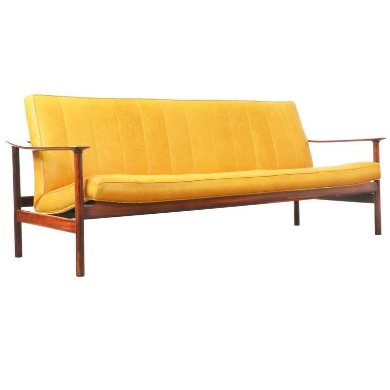 Sven Ivar Dysthe Rosewood and Leather Sofa for Dokka Mobler 1