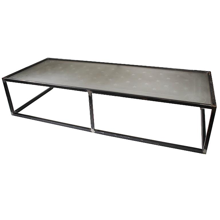 Monumental French Etched Glass And Steel Coffee Table Circa 1900 For Sale At 1stdibs