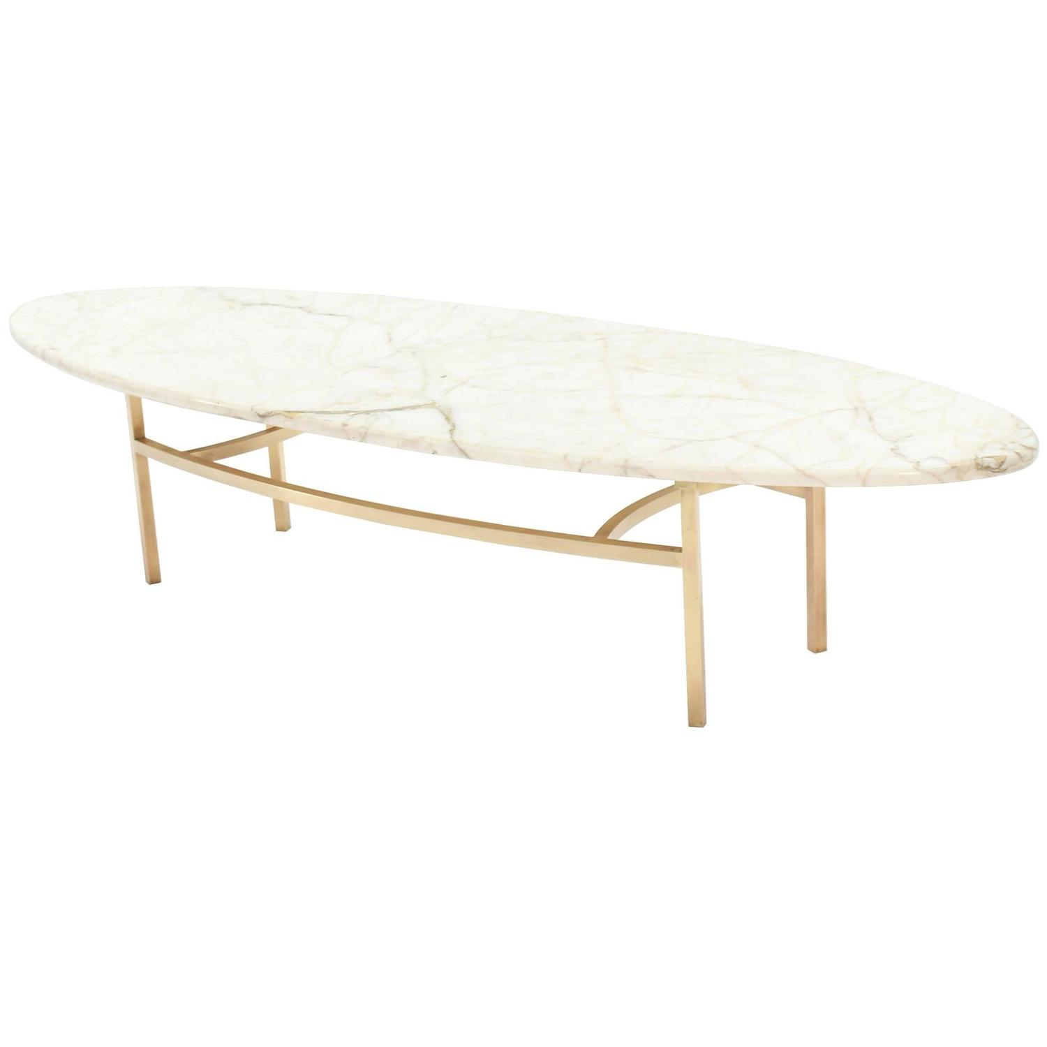 Brass and oval marble top mid century modern coffee table for Contemporary oval coffee tables