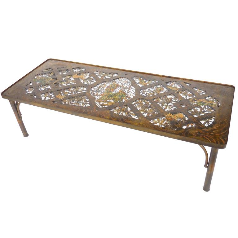 Rare Philip And Kelvin LaVerne Coffee Table, Bronze And Enamel 1