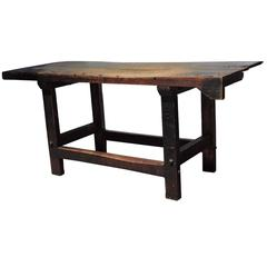 American Industrial Wood Workers Bench Table, circa 1900
