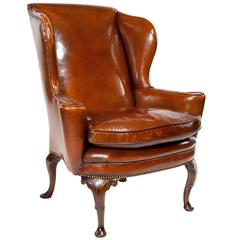 Superb Quality 19th Century Antique Leather Wing Chair