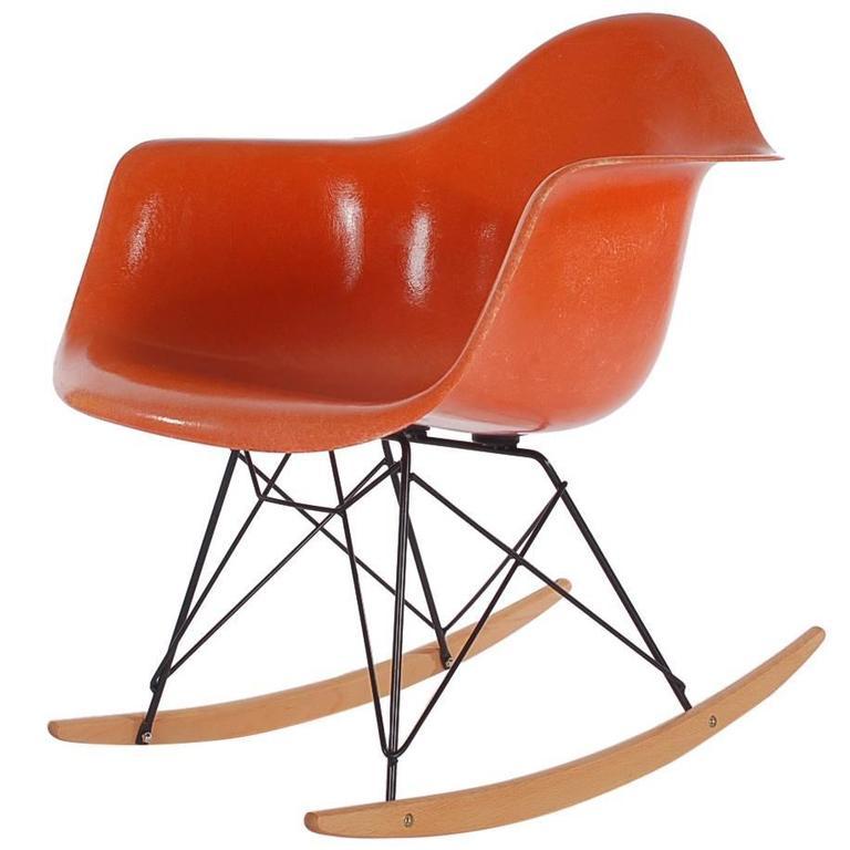 Mid Century Eames For Herman Miller Fiberglass Rocking Lounge Chair In  Orange 1