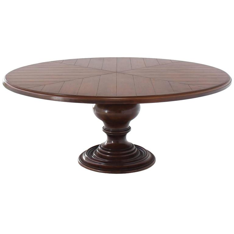 Large Single Turned Base Round Farm Style Dining Table