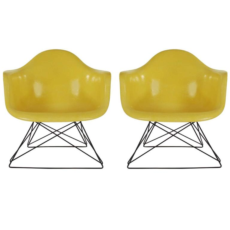 Mid-Century Modern Eames for Herman Miller Fiberglass Lounge Chairs in Yellow
