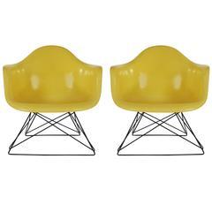 Mid-Century Modern Eames für Herman Miller Glasfaser Loungesessel in Gelb
