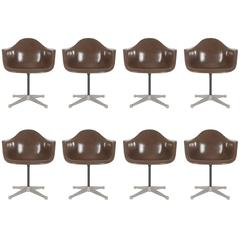 Mid Century Charles Eames For Herman Miller Fiberglass Dining Chairs In  Brown