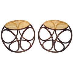 Pair of Bentwood Thonet Stools or Ottomans