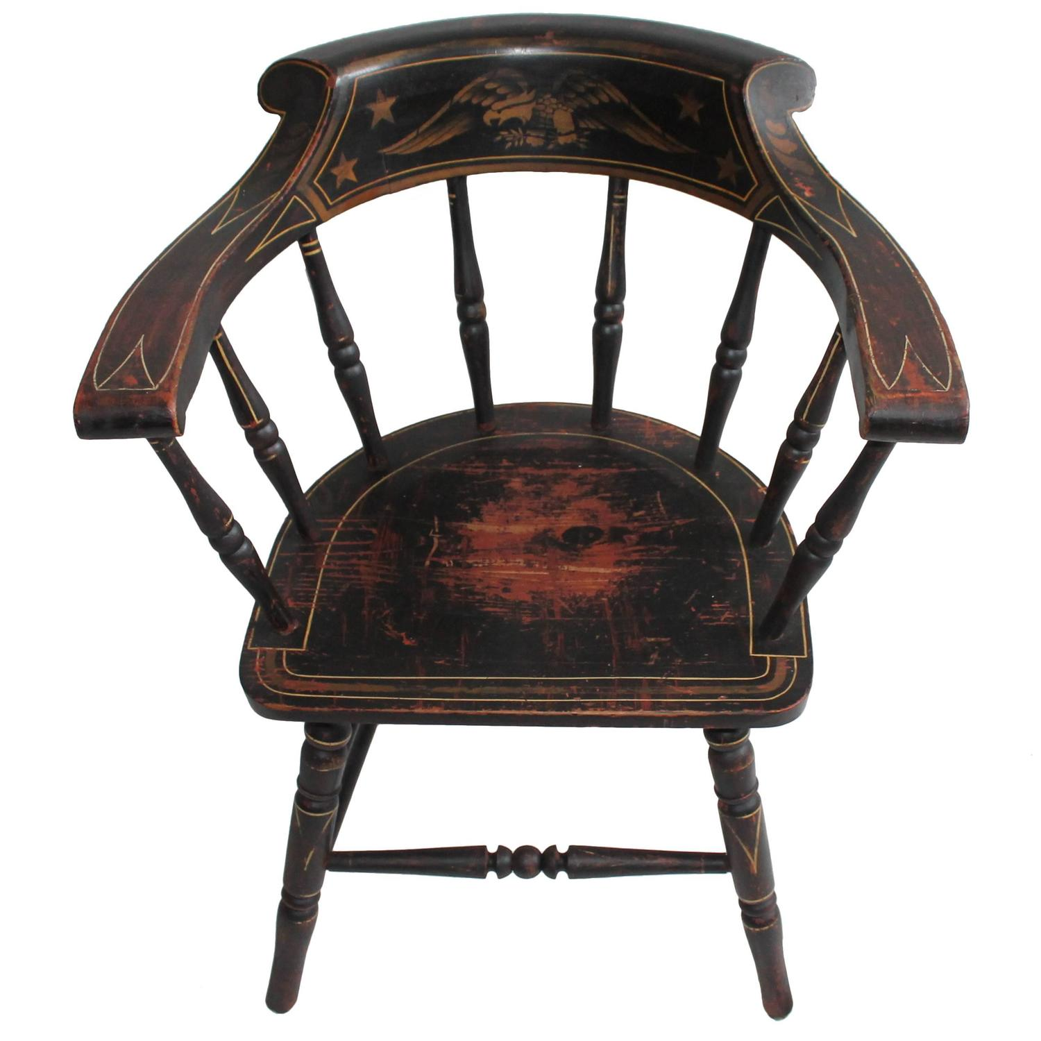 19th Century Original Paint Decorated Captains Chair with Eagle