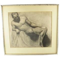 Seated Man, Nude Study Charcoal Drawing, Signed