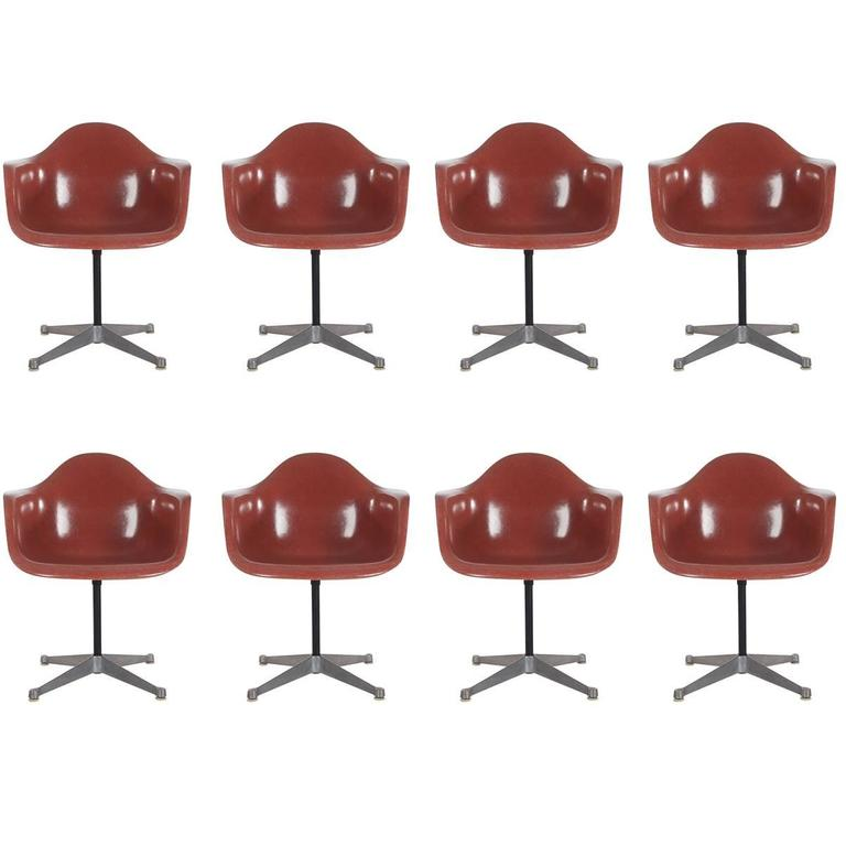 Mid-Century Charles Eames Herman Miller Fiberglass Dining Chairs in Terracotta