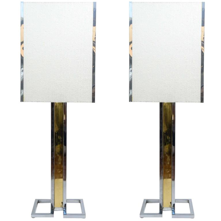 Tall Two Tones Metal and Brass Pair of Lamps