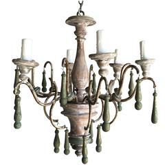 Six-Light Italian Wood Tassel Painted Chandelier